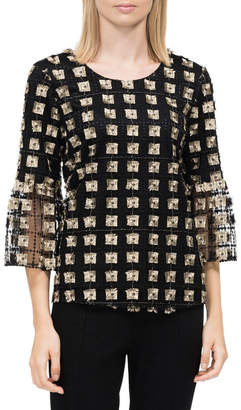Embroidered Net 3/4 Bell Sleeve Top