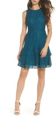 MICHAEL Michael Kors Lace Flounce Hem Dress