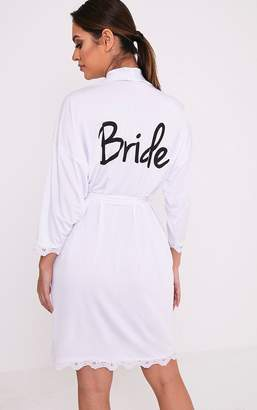 PrettyLittleThing Bride White Slinky Dressing Gown