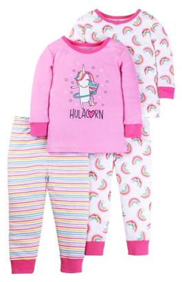 Little Star Organic Cotton Tight Fit Pajamas, 4-piece Set (Baby Girls & Toddler Girls)