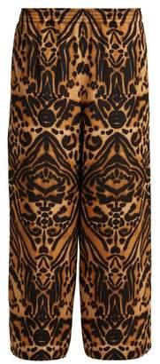 Raey Tiger Print Silk Cady Pyjama Trousers - Womens - Brown Multi