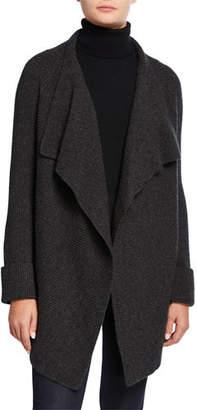 Neiman Marcus Cashmere Ribbed Drape-Front Cardigan