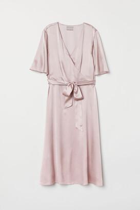 H&M V-neck Silk Dress - Pink