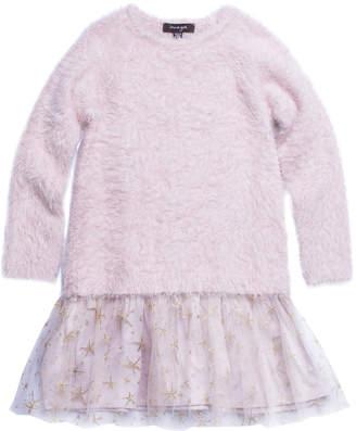 Imoga Long-Sleeve Fancy Yarn Dress w/ Mesh Skirt, Size 4-6
