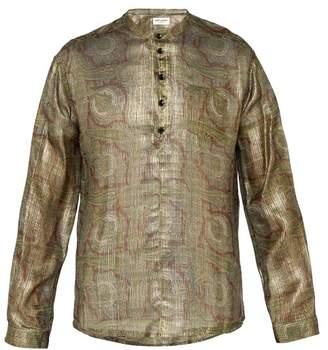 Saint Laurent Paisley Print Lame Shirt - Mens - Gold