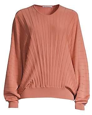 Agnona Women's Dolman Sleeve Pleated Wool Top