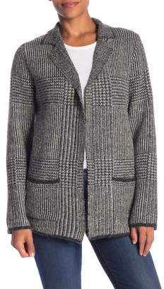 Joseph A Notch Lapel Houndstooth Stripe Cardigan Coat