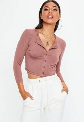 Missguided Mocha Button Front Long Sleeve Crop Top