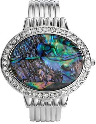 Vivani Silver Tone Simulated Abalone & Simulated Crystal Bangle Watch - K4093A - Women