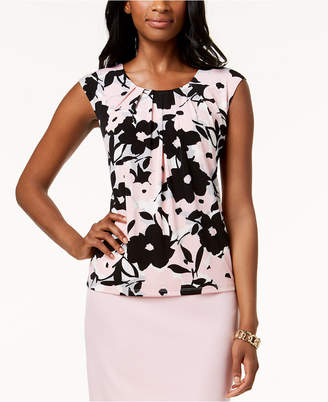 Kasper Pleated Floral-Print Shell