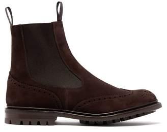 Tricker's Henry Suede Chelsea Boots - Mens - Dark Brown
