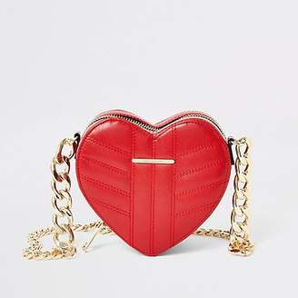 River Island Red quilted heart shaped cross body bag