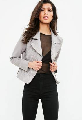Missguided Gray Suedette Studded Jacket