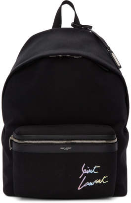 Saint Laurent Black Canvas Embroidered City Backpack