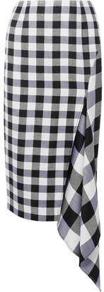 Monse Asymmetric Gingham Wool And Cotton-blend Midi Skirt - Black
