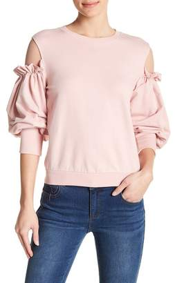 Romeo & Juliet Couture Ruffle Mesh Shoulder Balloon Sleeve Sweatshirt