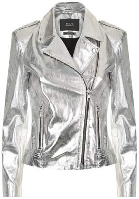 SET Metallic Leather Jacket