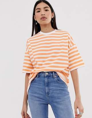 f217b2083 Asos Design DESIGN oversized t-shirt in spliced stripe