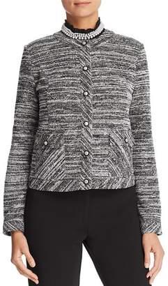 Karl Lagerfeld Paris Faux-Pearl-Trim Textured-Knit Jacket