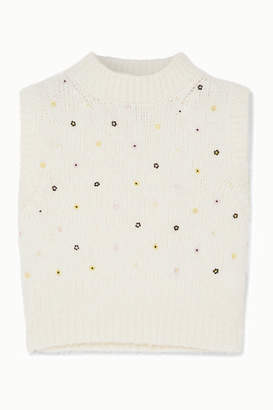 Cecilie Bahnsen - Alina Bead-embellished Wool-blend Tank - White