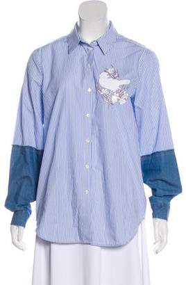 No.21 No. 21 Embroidered Button-Up Top
