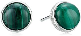 Effy Womens 925 Sterling Silver Malachite Stud Earrings