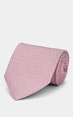 Salvatore Ferragamo Men's Interlocking-Gancio-Print Silk Twill Necktie - Pink