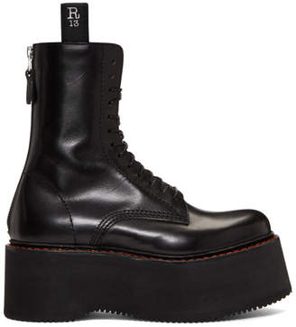R 13 Black Three Stack Platform Lace-Up Boots