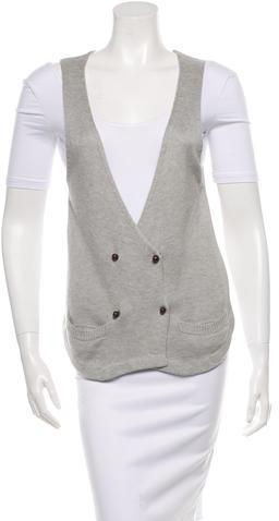 Les Prairies de Paris Rib Knit Double-Breasted Vest
