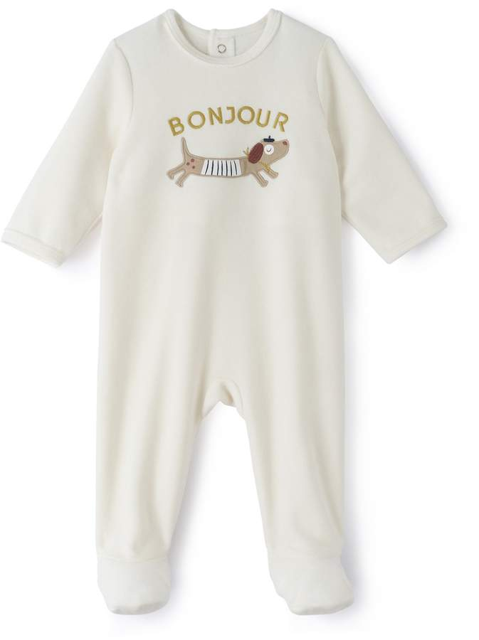 La Redoute Collections Printed Velour Sleepsuit Birth-3 Years