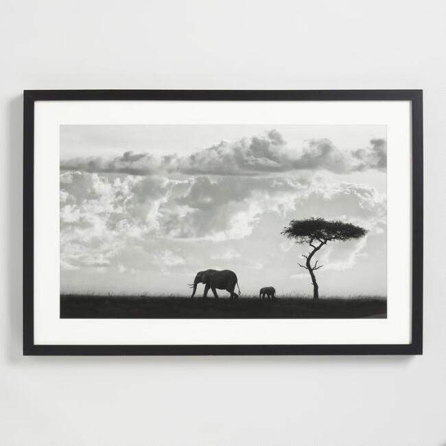 Black and White Elephant Photograph Wall Art