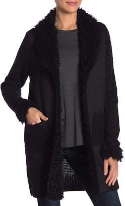 OnTwelfth Faux Fur Shag Collar Knit Sweater