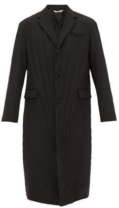 Valentino Single Breasted Plisse Coat - Mens - Black