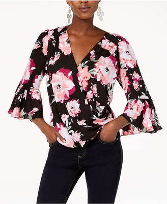 INC International Concepts I.N.C. Floral-Print Bell-Sleeve Top, Created for Macy's