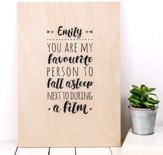 Coulson Macleod Personalised Birthday Gift; 'My Favourite' Wood Print