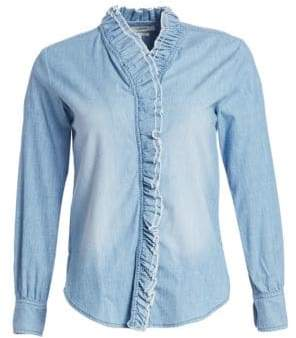 Etoile Isabel Marant Lawendy Ruffled Chambray Shirt
