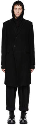 Julius Black Wool Single-Breasted Coat