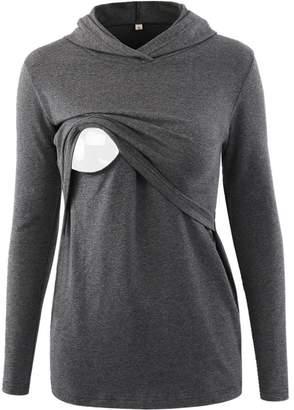 BBHoping Women's Nursing Hoodie Long Sleeves Casual Top Breastfeeding Clothes