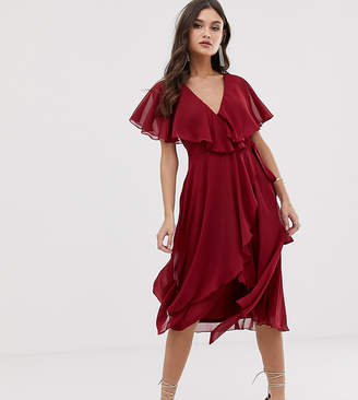 Asos Design DESIGN midi dress with cape back and dipped hem