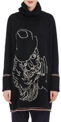 Yohji Yamamoto Women's Wool-Cotton Turtleneck Sweaterdress-BLACK $1,080 thestylecure.com
