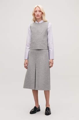 Cos PLEAT-FRONT WOOL A-LINE SKIRT