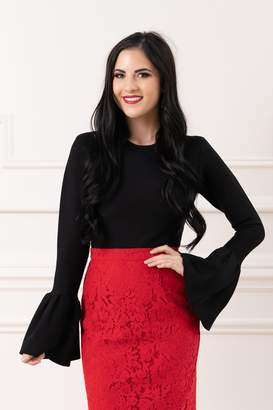 Rachel Parcell Bell Sleeve Top in Classic Black