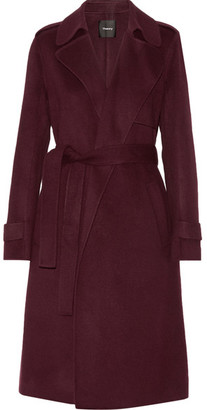 Theory - Oaklane Wool And Cashmere-blend Trench Coat - Burgundy $795 thestylecure.com