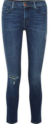 J Brand 811 Distressed Mid-rise Skinny Jeans - Dark denim