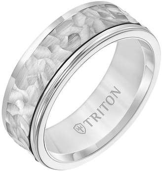 Triton 8MM White Tungsten Carbide Ring with 14K White Gold Hammered Insert