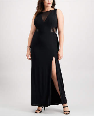 Betsy & Adam Plus Size Illusion Slit Gown