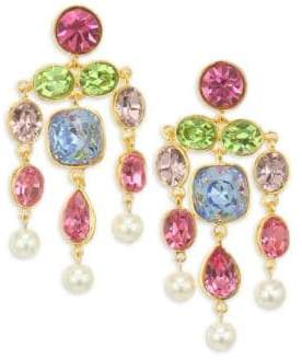 Kenneth Jay Lane Faux Pearl& Glass Stone Gold Plated Chandelier Earrings