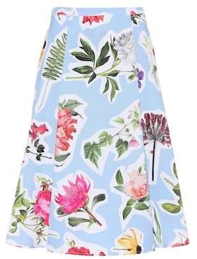 Carolina Herrera Floral cotton-blend skirt