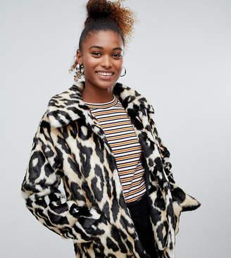 Monki faux fur leopard print jacket in brown
