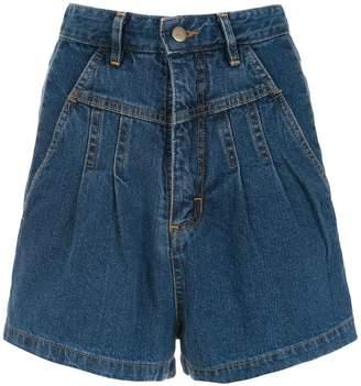 Framed denim shorts